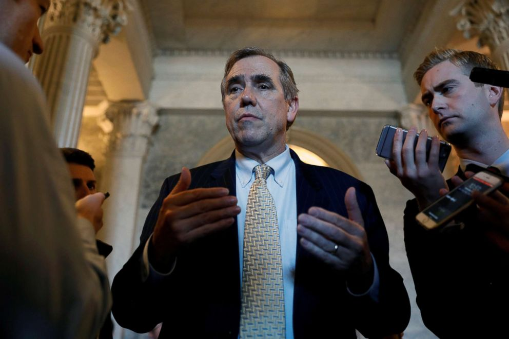 PHOTO: Senator Jeff Merkley speaks to reporters following leaving the Senate floor after delivering a 15 hour speech against Judge Neil Gorsuch on Capitol Hill Washington, April 5, 2017.