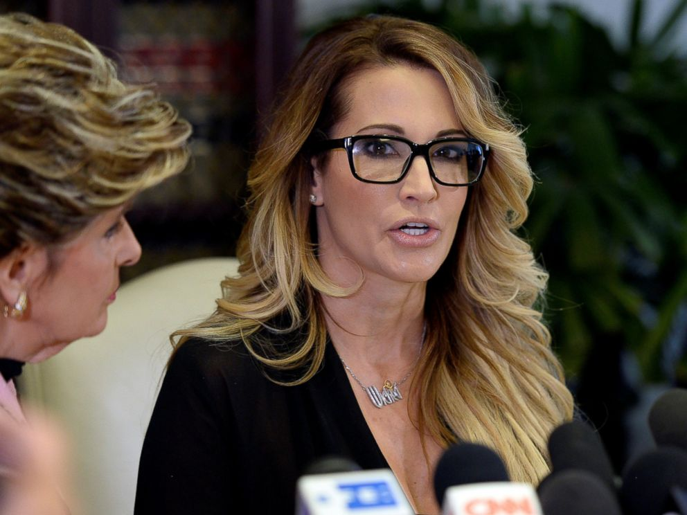 PHOTO: Jessica Drake speaks to reporters about allegations of sexual misconduct against Donald Trump, alongside lawyer Gloria Allred (L) during a news conference in Los Angeles, Oct. 22, 2016.