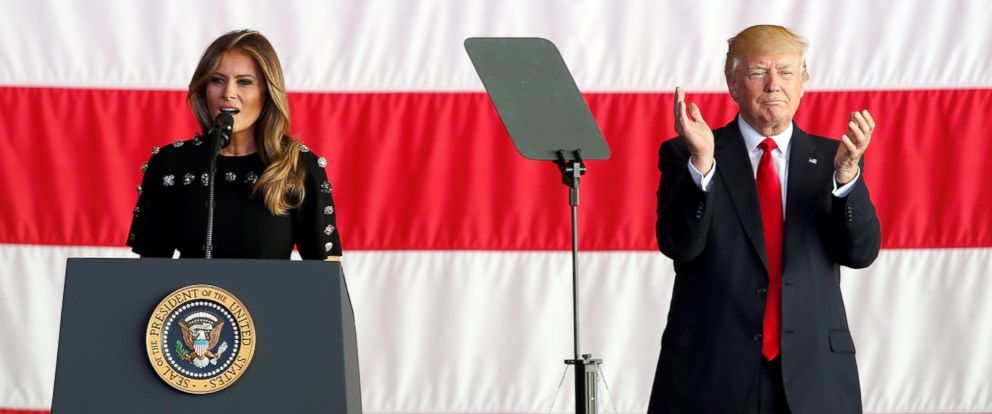 PHOTO: President Donald Trump claps as first lady Melania Trump speaks to U.S. military personnel at Naval Air Station Sigonella following the G7 Summit, in Sigonella, Sicily, Italy, May 27, 2017.