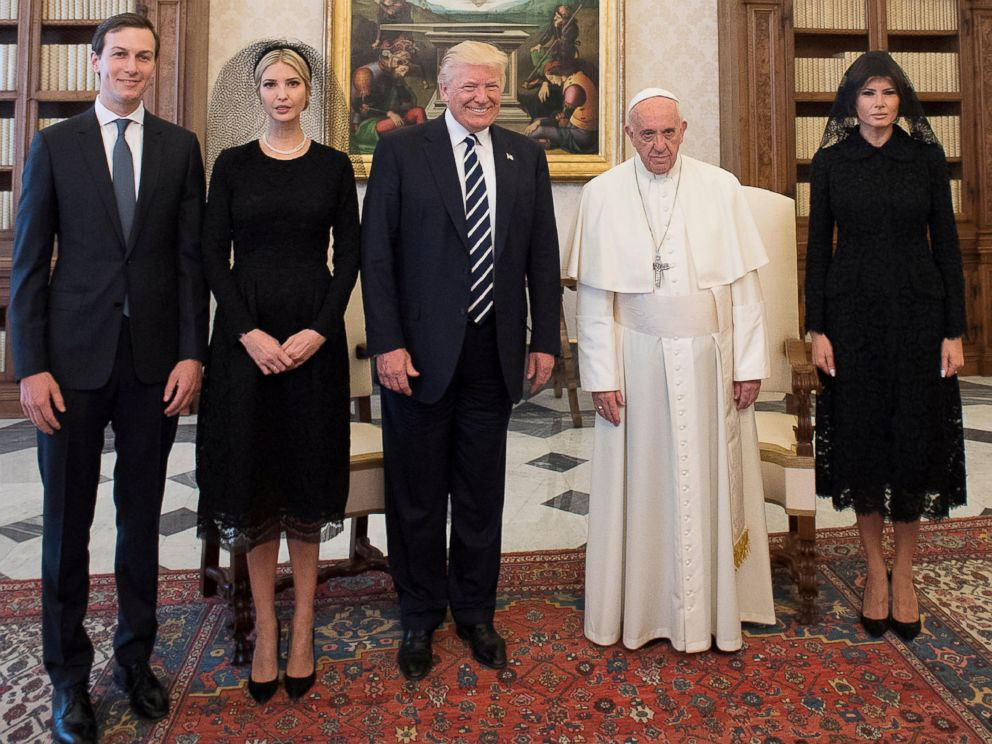 PHOTO: Pope Francis poses withPresident Donald Trump (C) his wife Melania (R), Jared Kushner (L) and Ivanka Trump during a private audience at the Vatican, May 24, 2017.