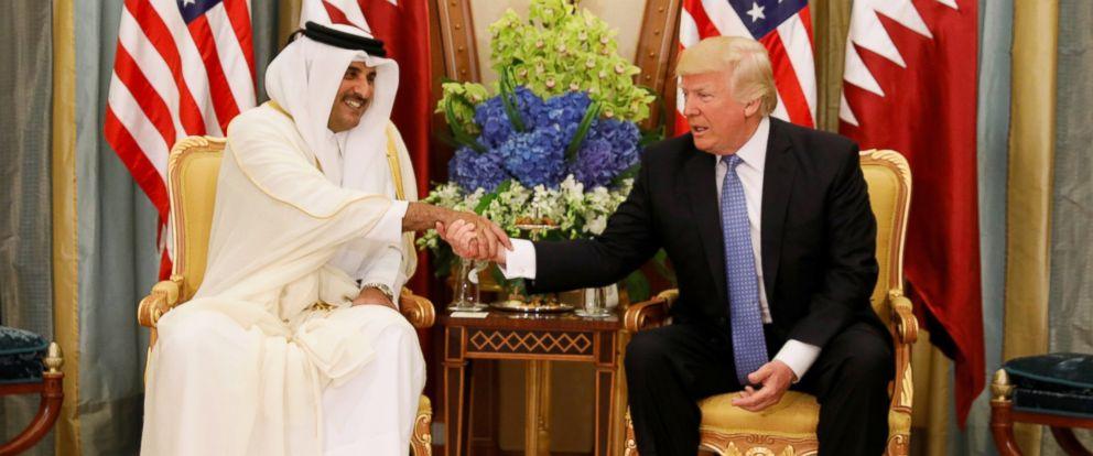 PHOTO: Qatars Emir Sheikh Tamim Bin Hamad Al-Thani meets with President Donald Trump in Riyadh, Saudi Arabia, May 21, 2017.