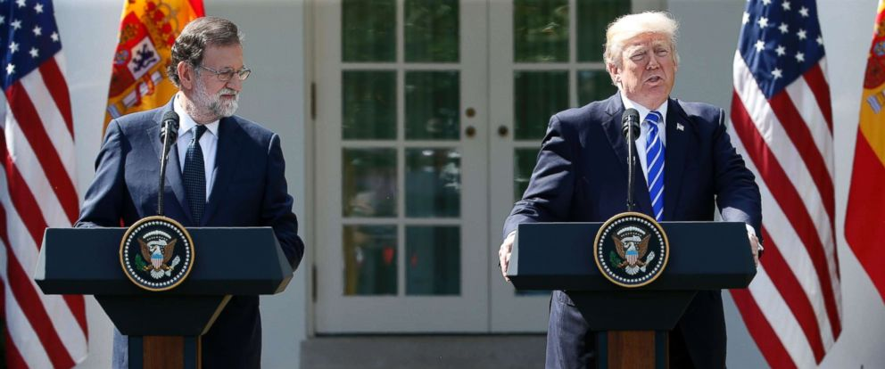 PHOTO: Spanish Prime Minister Mariano Rajoy and U.S. President Donald Trump hold a joint news conference in the Rose Garden at the White House in Washington, D.C., Sept. 26, 2017.