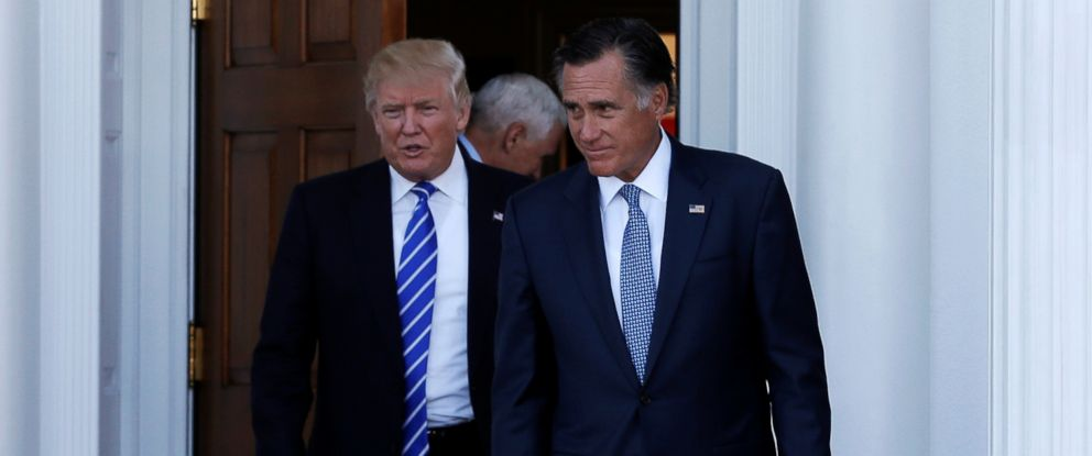 PHOTO: President-elect Donald Trump (L) and former Massachusetts Governor Mitt Romney emerge after their meeting at the main clubhouse at Trump National Golf Club in Bedminster, New Jersey, Nov. 19, 2016.