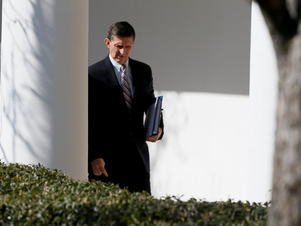 PHOTO: White House National Security Advisor Michael Flynn walks down the White House colonnade on the way to Japanese Prime Minister Shinzo Abe and President Donald Trumps joint news conference at the White House, Feb. 10, 2017.