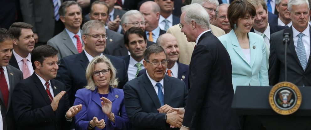 PHOTO: Secretary of Health and Human Services Tom Price greets Congressional Republicans in the Rose Garden of the White House after the House of Representatives approved the American Healthcare Act,May 4, 2017.