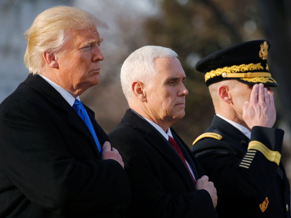 PHOTO: President-elect Donald Trump and Vice President-elect Mike Pence participate in a wreath laying ceremony at Arlington National Cemetery, Jan. 19, 2017.
