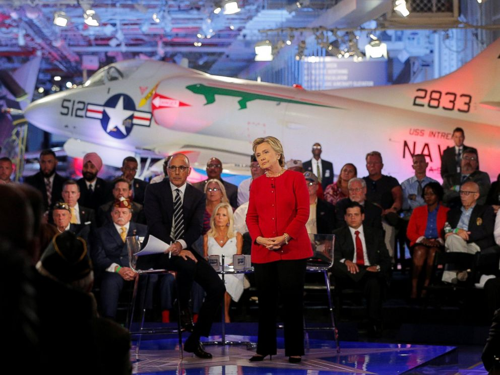 PHOTO: U.S. Democratic presidential candidate Hillary Clinton speaks at a presidential candidates Commander-in-Chief forum, moderated by Matt Lauer (L), aboard the decommissioned aircraft carrier Intrepid in New York, New York, September 7, 2016.