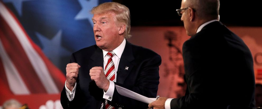 PHOTO:Republican presidential nominee Donald Trump speaks during the Commander in Chief Forum in Manhattan, New York, NY, September 7, 2016.