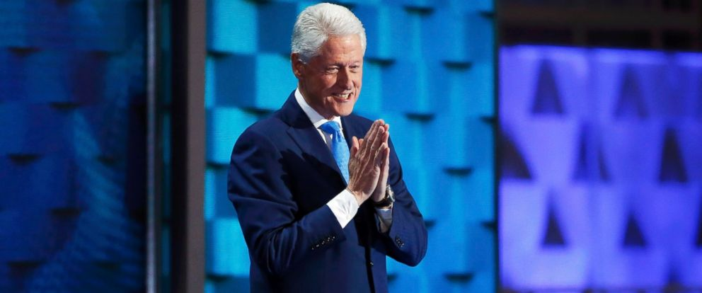 PHOTO: Former President Bill Clinton takes the stage during the Democratic National Convention in Philadelphia, July 26, 2016.