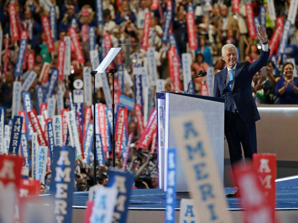 PHOTO: Former President Bill Clinton waves as he takes the stage at the Democratic National Convention in Philadelphia. July 26, 2016.