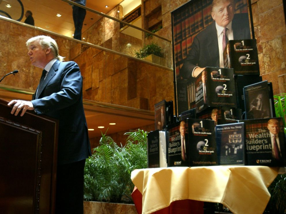 PHOTO: Real estate mogul and TV star Donald Trump speaks at a press conference in New York in which he announced the establishment of Trump University, May 23, 2005.
