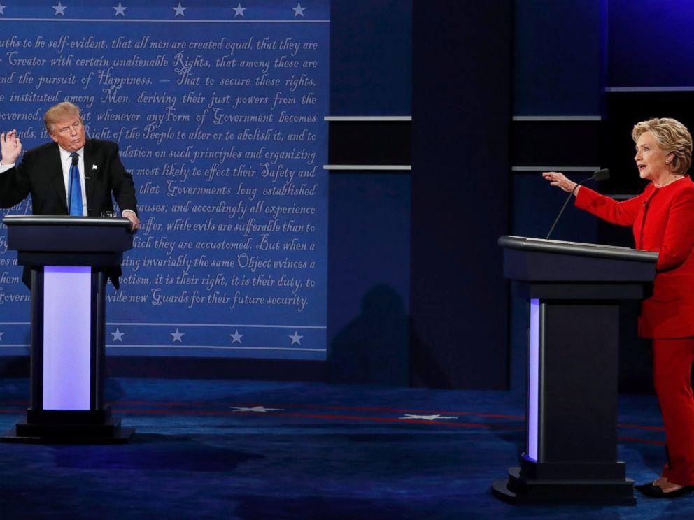 PHOTO: Republican U.S. presidential nominee Donald Trump and Democratic U.S. presidential nominee Hillary Clinton speak during their first presidential debate at Hofstra University in Hempstead, New York, September 26, 2016.