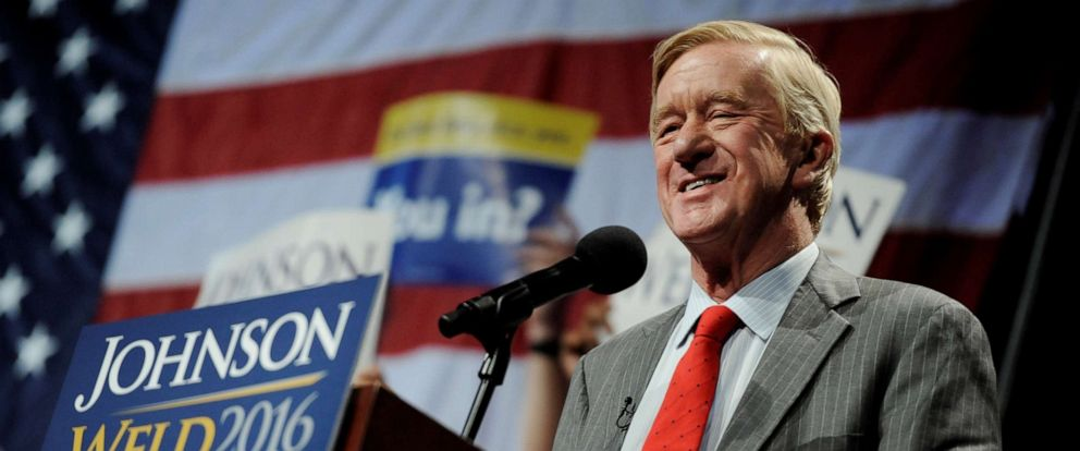 PHOTO: Libertarian vice presidential candidate Bill Weld speaks at a rally in New York, on Sept. 10, 2016.