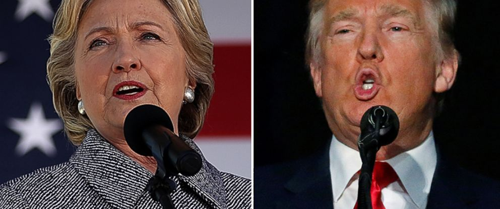 PHOTO: (L-R) Democratic presidential nominee Hillary Clinton in Des Moines, Iowa and Republican presidential nominee Donald Trump in Bedford, New Hampshire are pictured on Sept. 29, 2016.