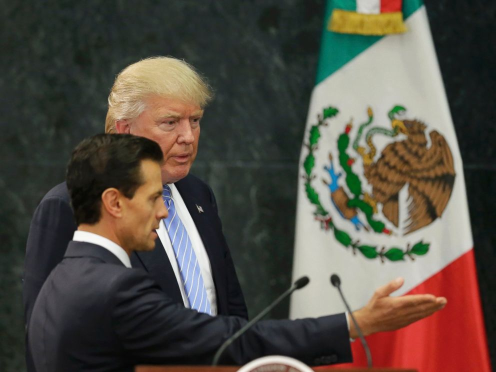 PHOTO: U.S. Republican presidential nominee Donald Trump and Mexicos President Enrique Pena Nieto arrive for a press conference at the Los Pinos residence in Mexico City, on Aug. 31, 2016.