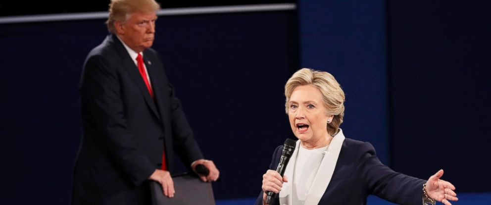 PHOTO: Democratic presidential nominee Hillary Clinton speaks during their presidential town hall debate with Republican presidential nominee Donald Trump at Washington University in St. Louis, Oct. 9, 2016.