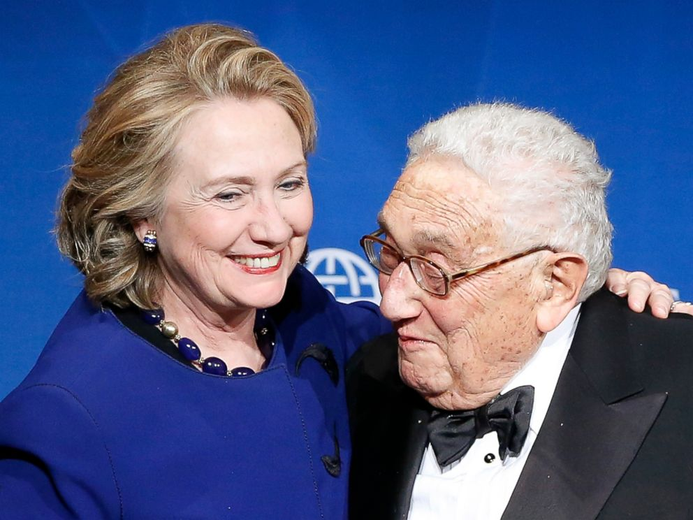 PHOTO: Hillary Clinton and Henry Kissinger, also a former Secretary of State, is seen after he presented her with a Distinguished Leadership Award from the Atlantic Council in Washington, May 1, 2013.