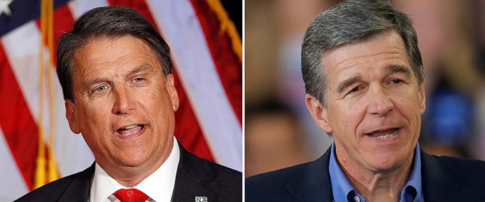 PHOTO: North Carolina Governor Pat McCrory in Raleigh, North Carolina, Nov. 9, 2016; North Carolina Attorney General Roy Cooper at a campaign rally in Raleigh, North Carolina, Nov. 7, 2016.