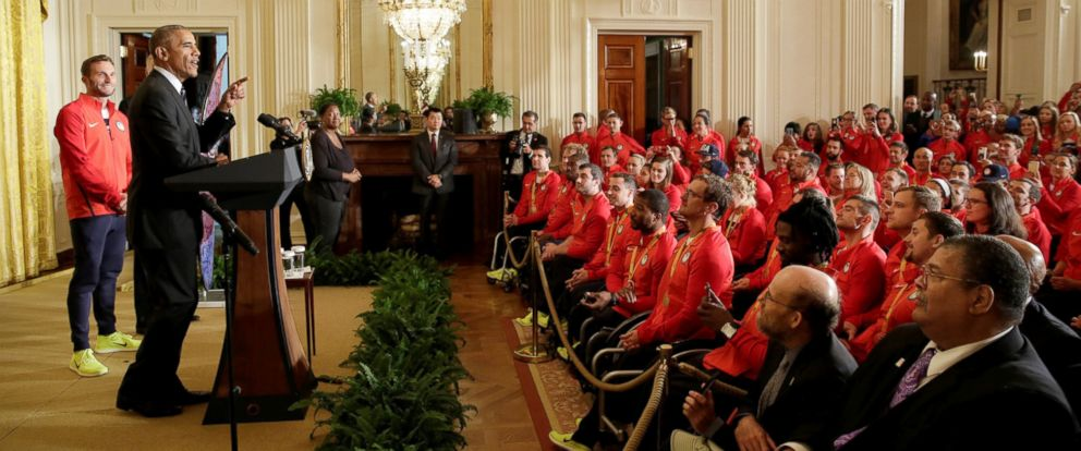 PHOTO: President Barack Obama welcomes U.S. Olympic and Paralympics teams at the White House in Washington, Sept. 29, 2016.