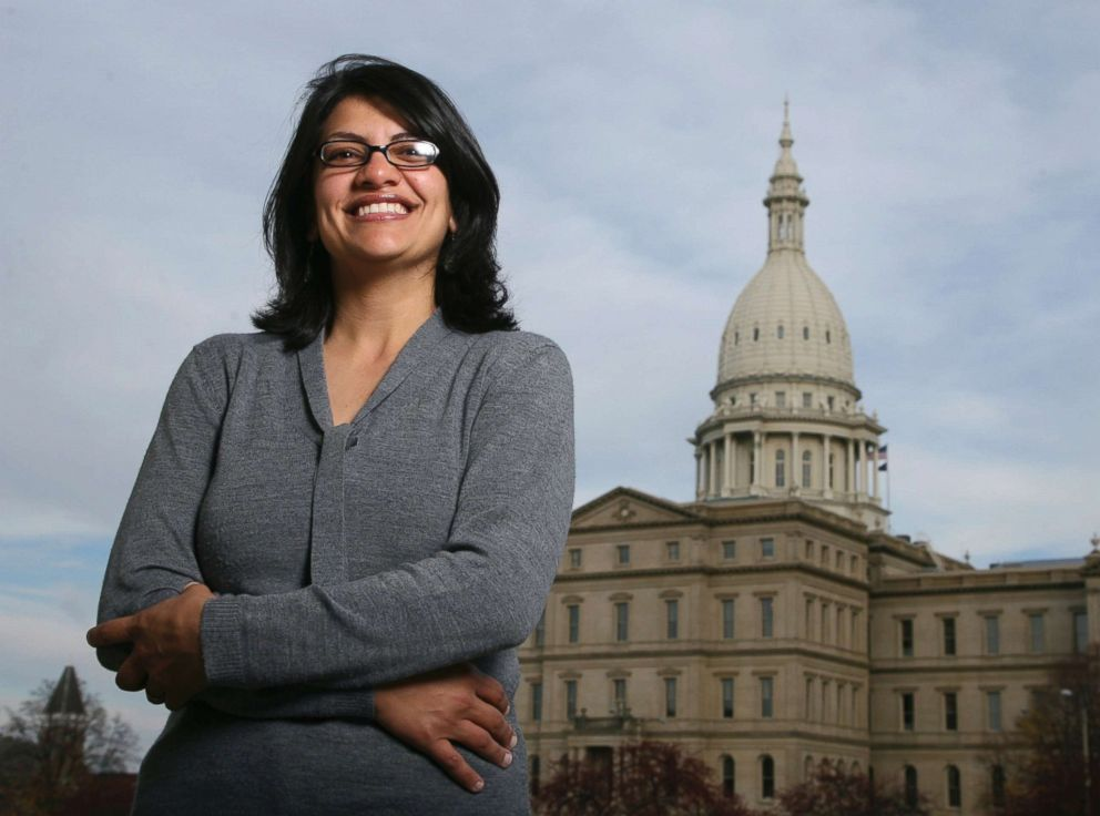 IMAGE: Rashida Tlaib, a Democrat, is photographed outside the Michigan Capitol in Lansing, Mich., Nov. 6, 2008.</span></figcaption></figure><p itemprop=