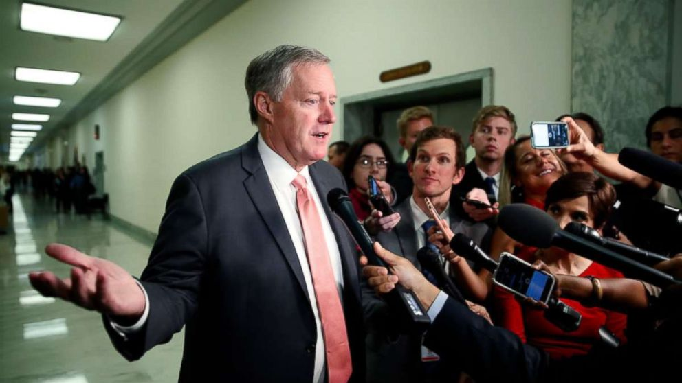 House Oversight Committee member Rep. Mark Meadows, R-N.C., speaks as he arrives for a deposition before the House Judiciary Committee by Peter Strzok, on June 27, 2018 in Washington.