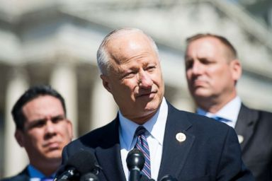 PHOTO: Rep. Mike Coffman, R-Colo., speaks during a news conference on the use of the queen-of-the-hill rule for DACA legislation in the House on April 18, 2018.