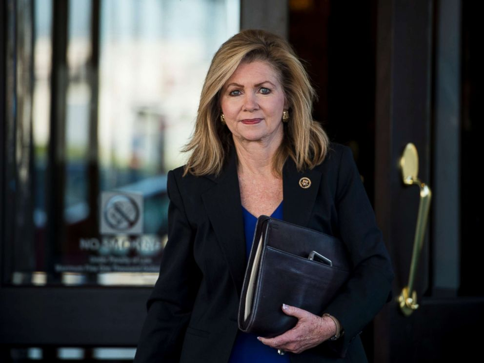 PHOTO: Rep. Marsha Blackburn, R-Tenn., leaves the House Republican Conference meeting at the Capitol Hill Club on Tuesday, Nov. 3, 2015.