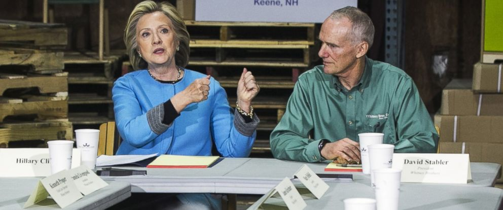 PHOTO: Former Secretary of State Hillary Clinton describes working in her fathers business during a round table at Whitney Brothers childrens toy and furniture factory in Keene, New Hampshire, April 20, 2015.