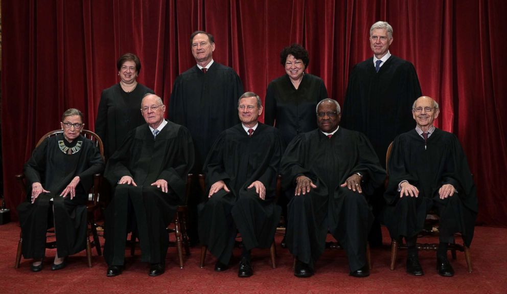 PHOTO: Members of the Supreme Court in a 2017 group portrait including Associate Justice Anthony M. Kennedy, front row, second from left.