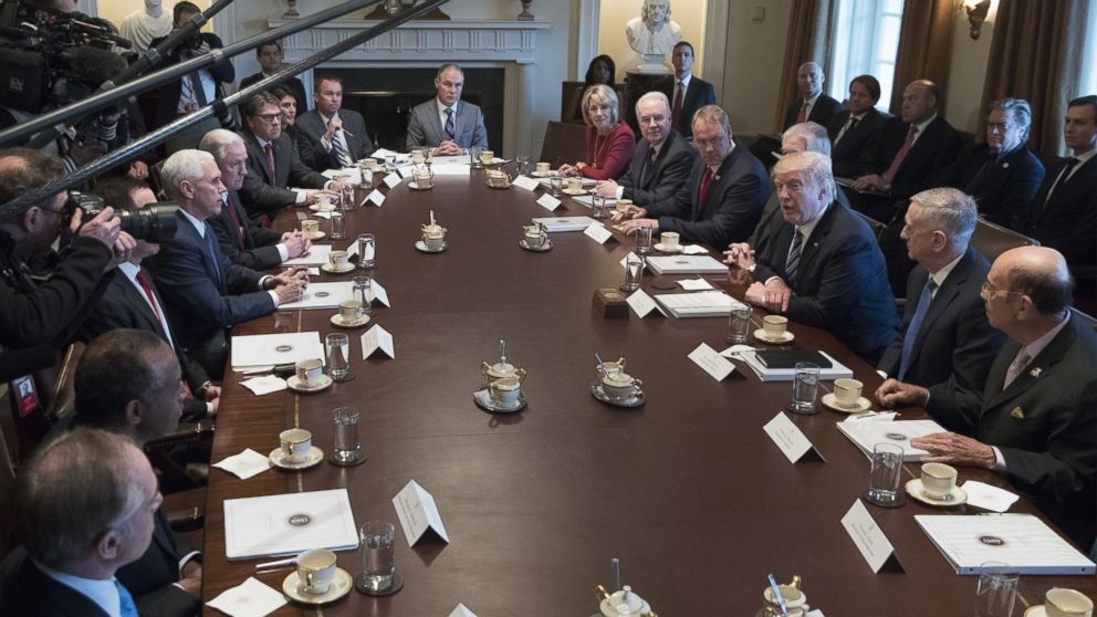 U.S. President Donald J. Trump (3-R) holds a meeting with members of his Cabinet in the Cabinet Room, on March 13, 2017, in Washington.