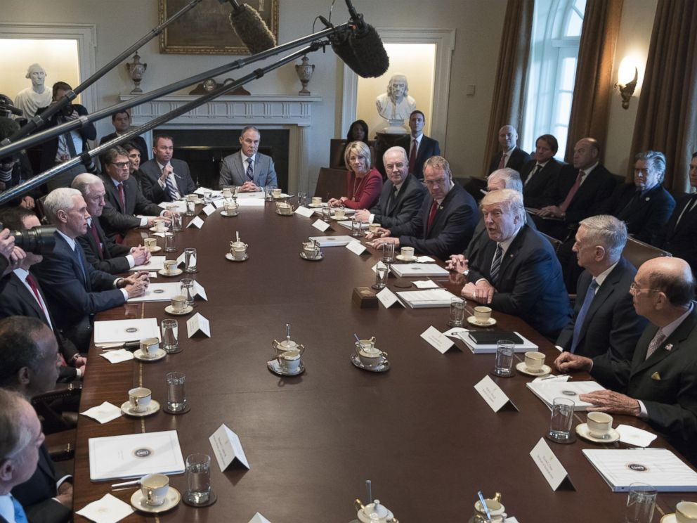 PHOTO: U.S. President Donald J. Trump (3-R) holds a meeting with members of his Cabinet in the Cabinet Room, on March 13, 2017, in Washington.