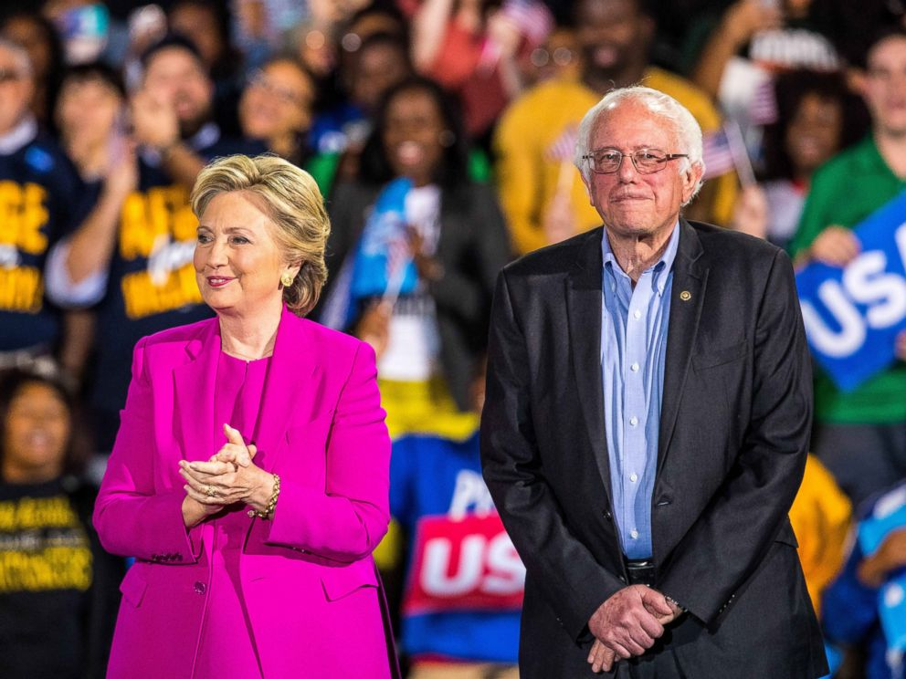 PHOTO: Music Artist Pharrell Williams and Senator Bernie Sanders campaign with Hillary Clinton at Coastal Carolina Credit Union Music Park in Raleigh, North Carolina, Nov. 3, 2016.