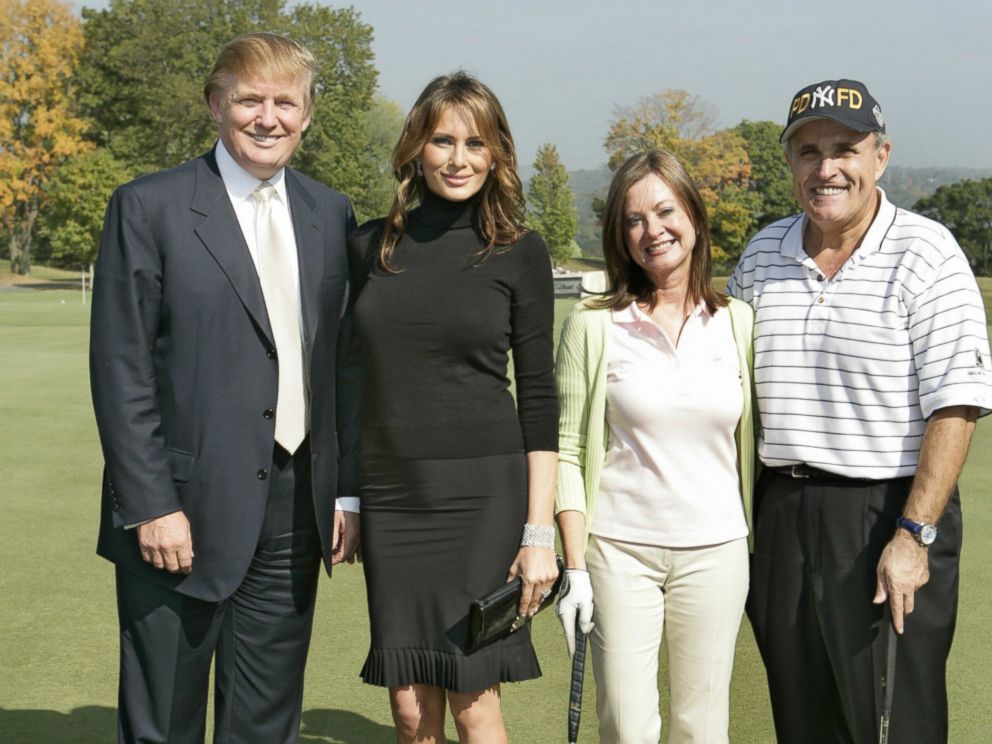 PHOTO: Donald Trump, Melania Trump, Judith Giuliani and Rudy Giuliani host a charity golf tournament at the Trump National Golf Course in Westchester, New York, on Oct. 7, 2005.