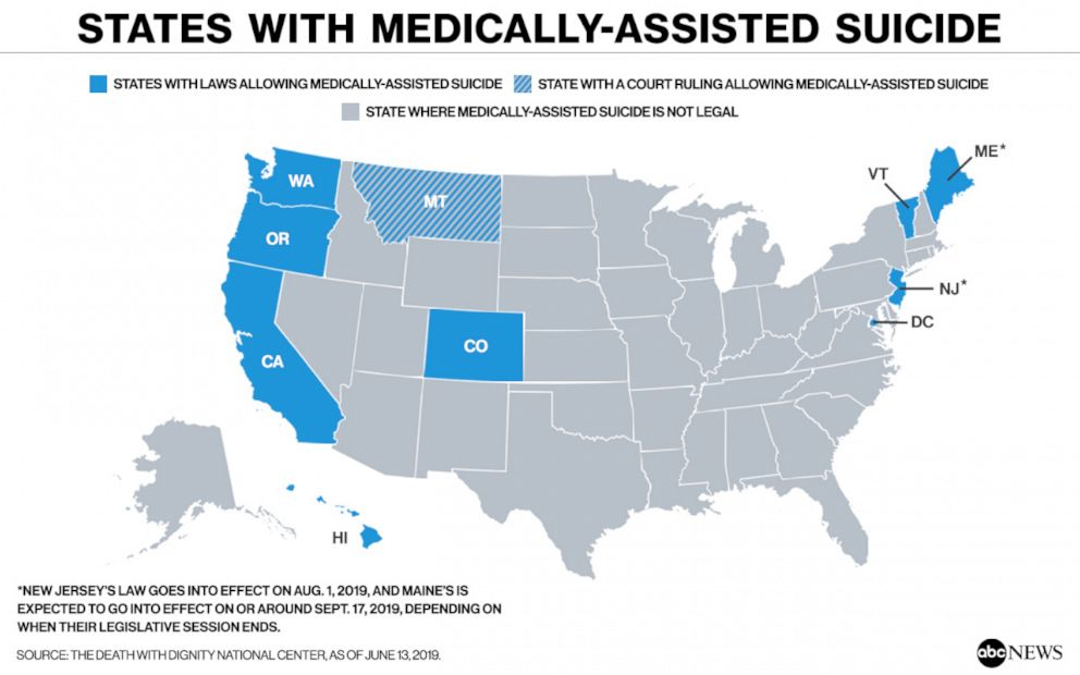 Image result for states with physician assisted death