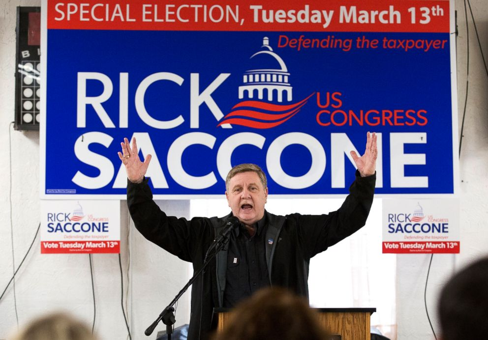 PHOTO: Rick Saccone, Republican candidate for the 18th Congressional District, speaks before his supporters during a campaign rally with Greene County coal miners, March 5, 2018, at the Veterans of Foreign Wars Post 4793 in Waynesburg, Pa.