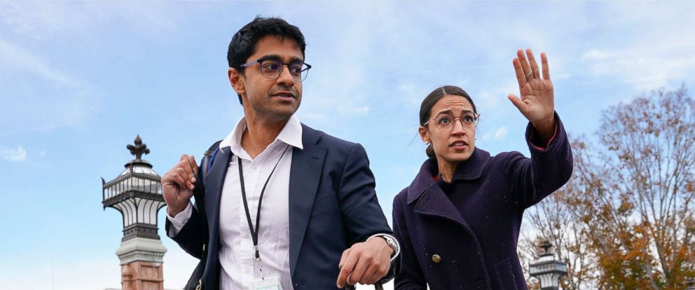 PHOTO: Alexandria Ocasio-Cortez, right, and her chief of staff Saikat Chakrabarti, depart following the freshman class of Congress group photo on Capitol Hill, Nov. 14, 2018.