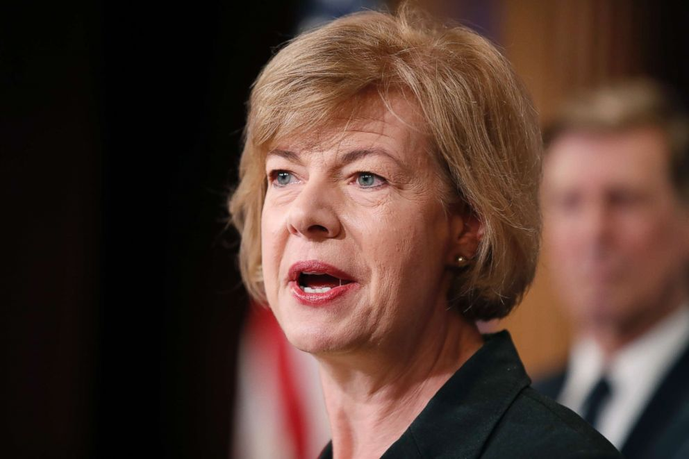 PHOTO: Sen. Tammy Baldwin, D-Wis., speaks on Capitol Hill, April 25, 2017.