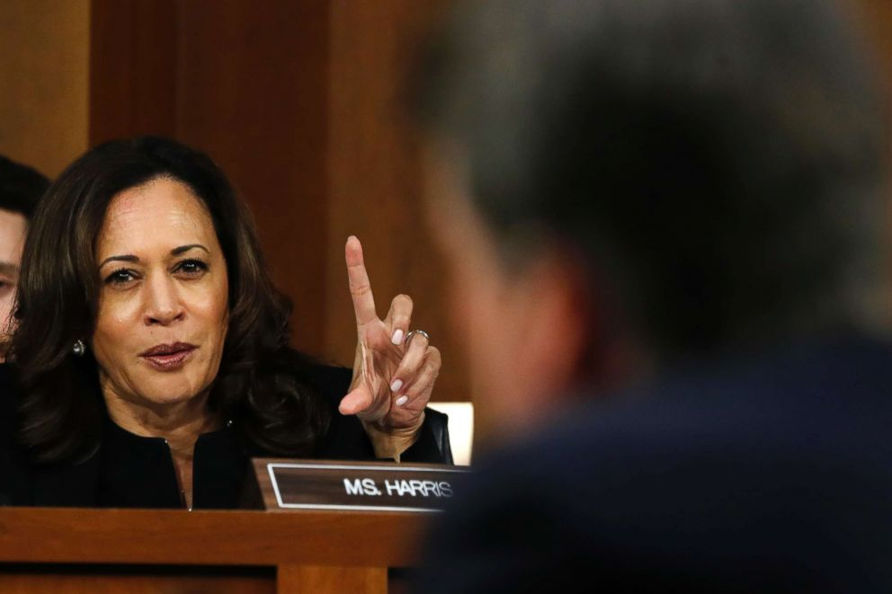 Sen. Kamala Harris questions President Donald Trump's Supreme Court nominee, Brett Kavanaugh, on the third day of his Senate Judiciary Committee confirmation hearing, Sept. 6, 2018, on Capitol Hill in Washington, DC.