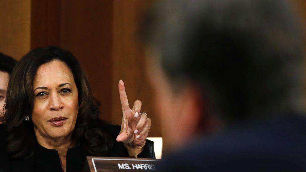 PHOTO: Sen. Kamala Harris, D-Calif., questions President Donald Trump's Supreme Court nominee, Brett Kavanaugh, on the third day of his Senate Judiciary Committee confirmation hearing, Sept. 6, 2018, on Capitol Hill in Washington.