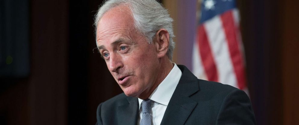 PHOTO: Senate Foreign Relations Committee Chairman Republican Bob Corker speaks during a news conference on Capitol Hill, September 14, 2017.
