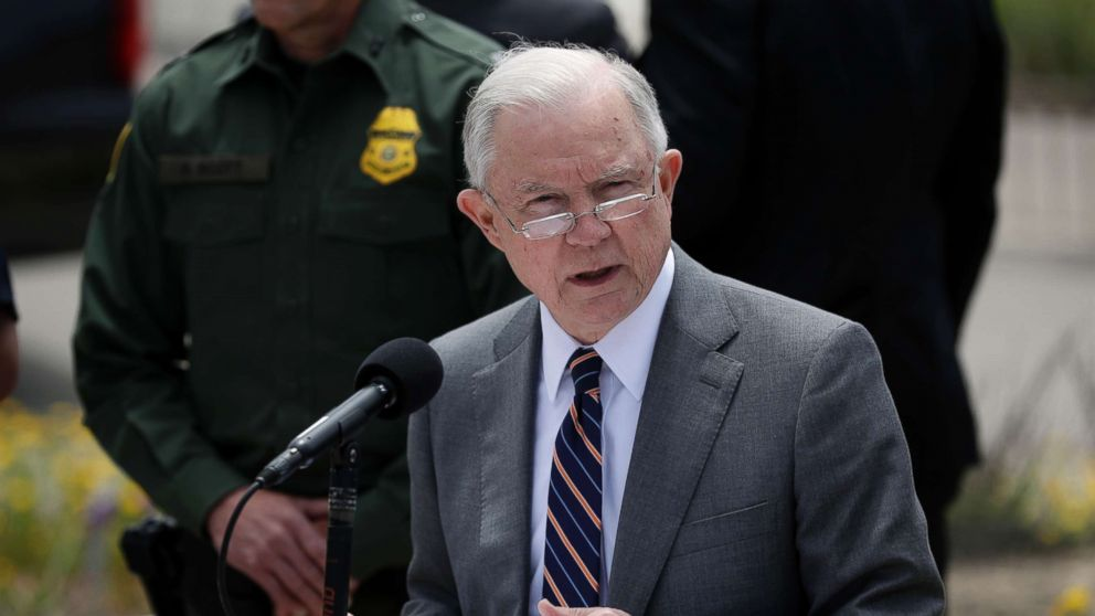 Attorney General Jeff Sessions speaks during a news conference near the border with Tijuana, Mexico, May 7, 2018, in San Diego.