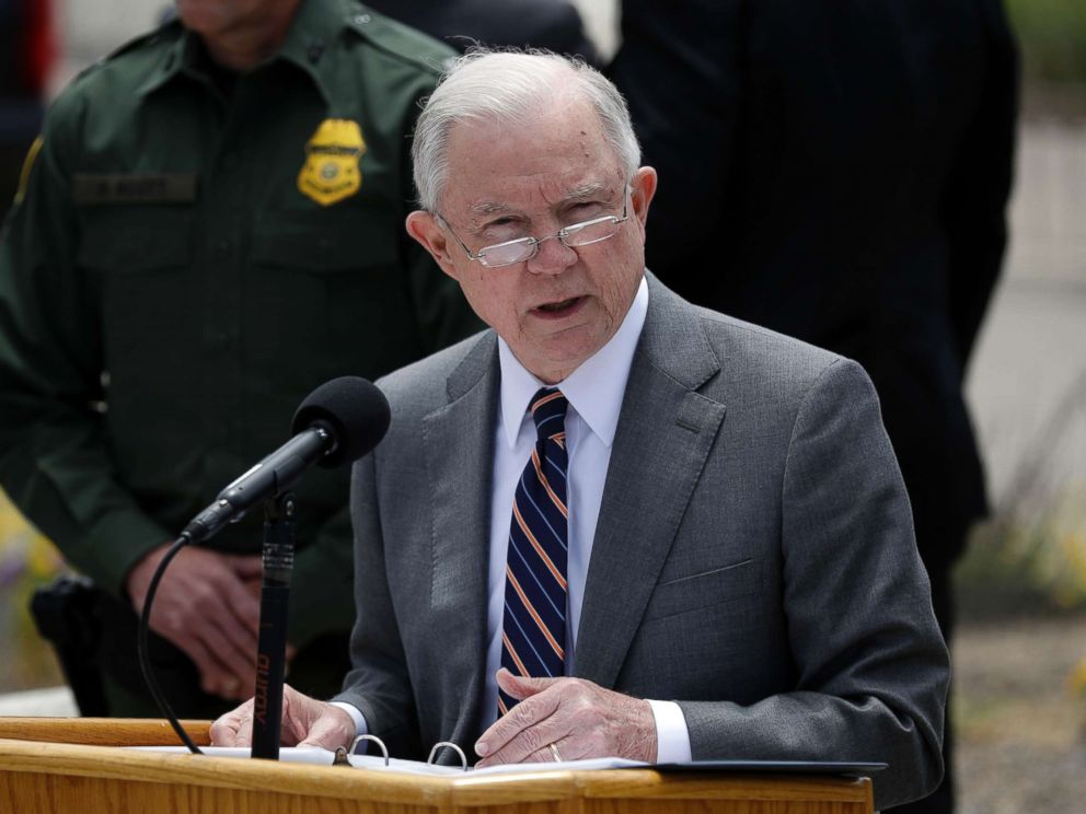 PHOTO: Attorney General Jeff Sessions speaks during a news conference near the border with Tijuana, Mexico, May 7, 2018, in San Diego.