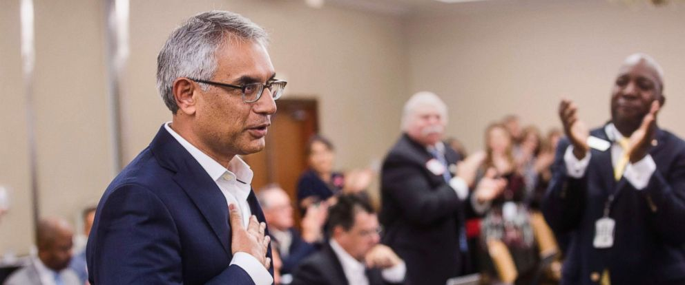 PHOTO: Dr. Shahid Shafi speaks before members of the State Republican Executive Committee, during the committees quarterly meeting, Dec. 1, 2018, in Austin, Texas.