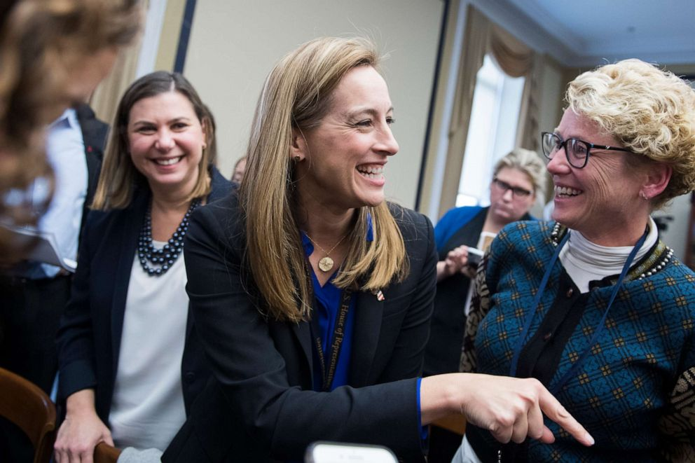 PHOTO:From left, members elect Elissa Slotkin, D-Mich., Mikie Sherrill, D-N.J., and Chrissy Houlahan, D-Pa., attend the new member room lottery draw for office space in Rayburn Building, Nov. 30, 2018.