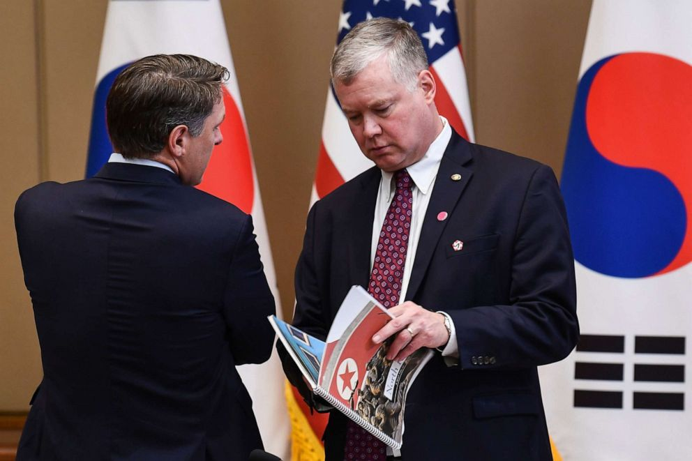 PHOTO: U.S. Special Envoy for North Korea Stephen Biegun, right, waits for South Korean President Moon Jae-in and President Donald Trump before an expanded meeting at the presidential Blue House in Seoul, June 30, 2019.