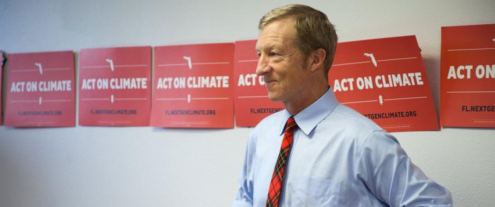 PHOTO: Tom Steyer in an undated photo wearing his signature red-patterned Scottish plaid tie.