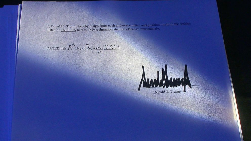 """A copy of the resignation letter dated Jan. 19, 2017 -- the day before the inauguration -- seen by ABC News reads: """"I, Donald Trump, hereby resign from each and every office and position I hold in the entities listed."""""""