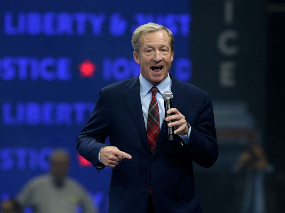 PHOTO: Democratic presidential candidate businessman Tom Steyer speaks during the Iowa Democratic Partys Liberty and Justice Celebration, Friday, Nov. 1, 2019, in Des Moines, Iowa.
