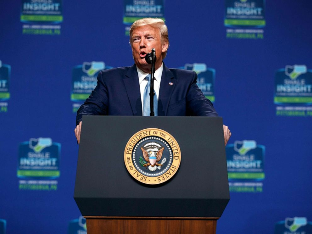 PHOTO: President Donald Trump speaks at the 9th annual Shale Insight Conference at the David L. Lawrence Convention Center, Oct. 23, 2019, in Pittsburgh.