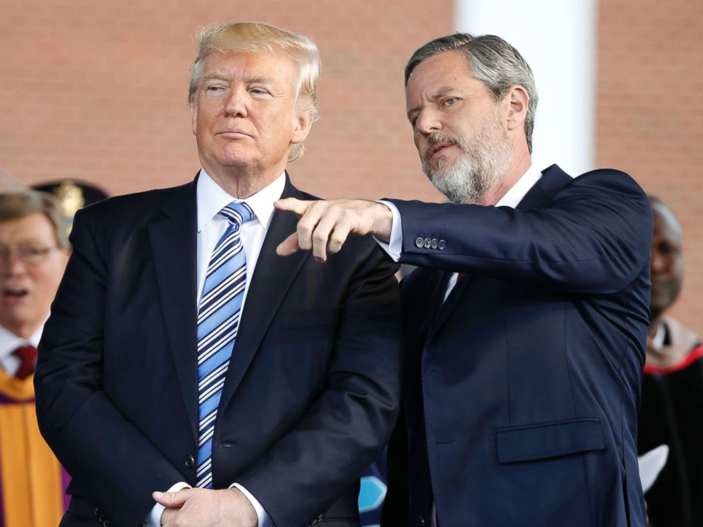 PHOTO: President Donald Trump stands with Liberty University President Jerry Falwell Jr. in Lynchburg, Va., on May 13, 2017.